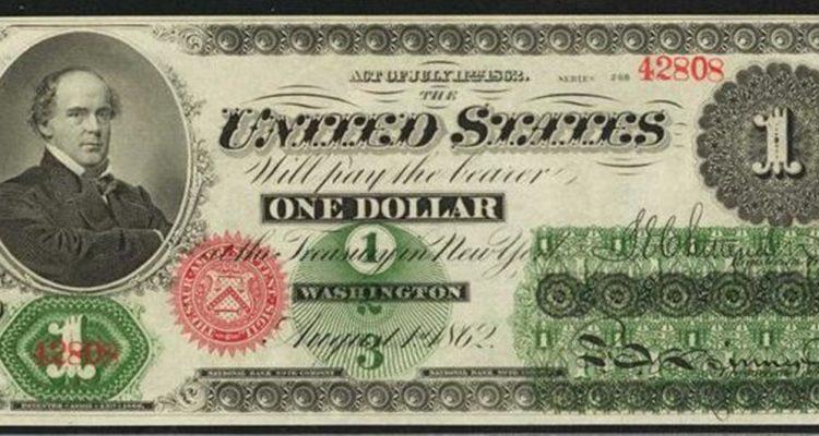 nota de 1 dollar de 1862