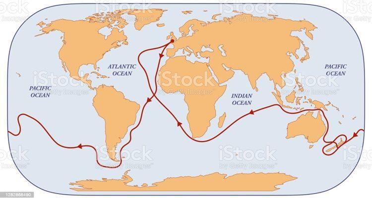 trajeto 1ª viagem James Cook